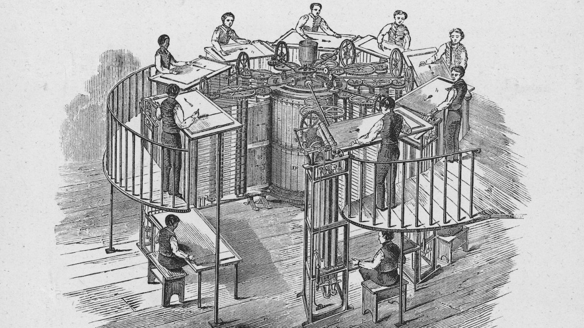 Illsutration shows Applegath's Vertical Machine, a newspaper printing press, in operation, from an advertisement in the Printers' Register Supplement, 1870s. (Photo by Kean Collection/Getty Images)