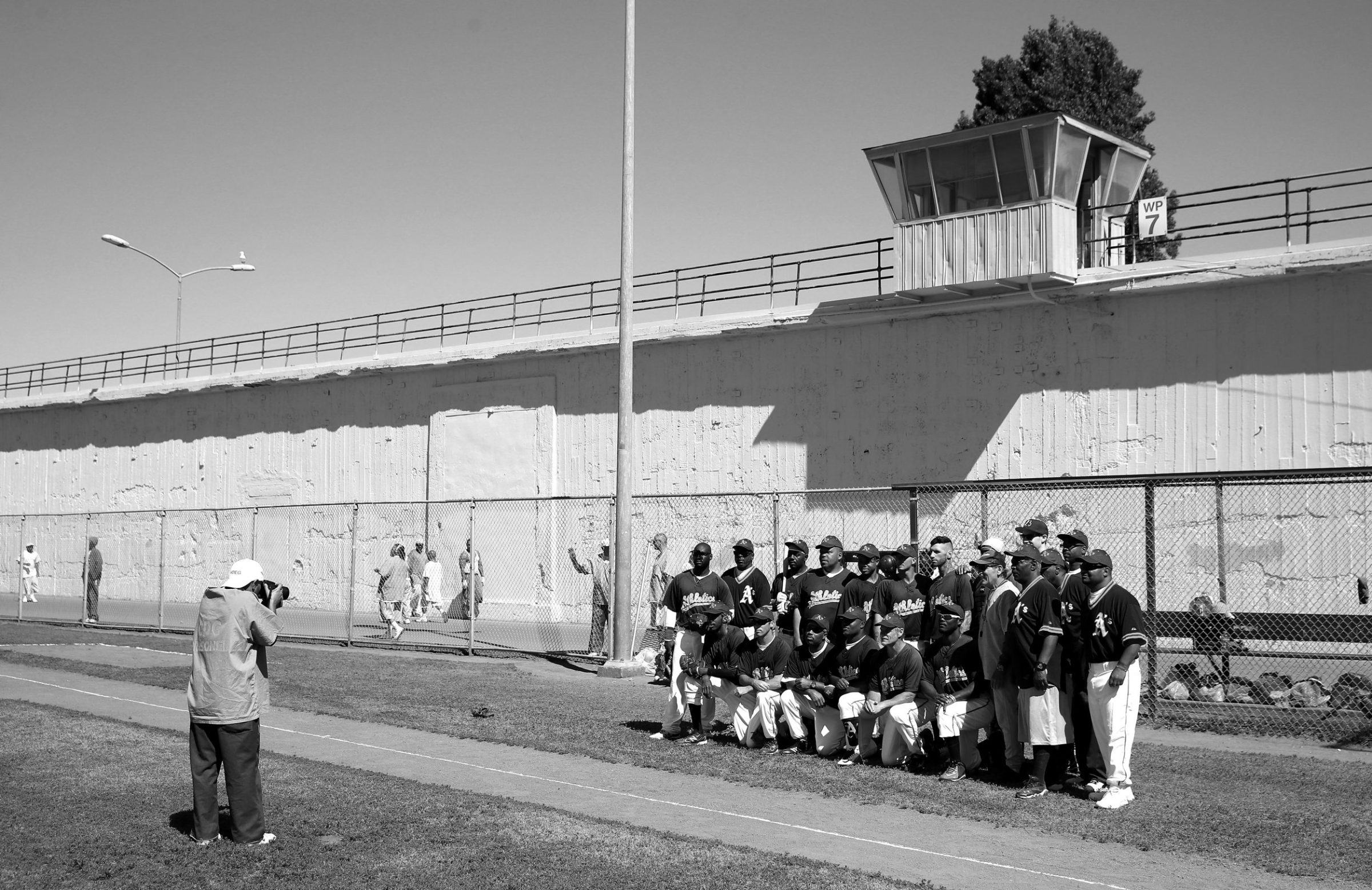 The San Quentin Athletics pose for a team photo for the prison newspaper before their game against Club Mexico on April 29, 2017 in San Quentin, California.