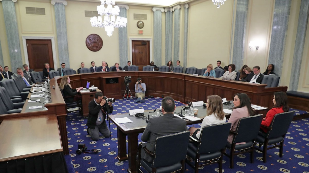 Olympic gold medal gymnast Jordyn Wieber, Olympic bronze medal gymnast Jamie Dantzcher, speedskater Bridie Farrell and figureskater Craig Maurizi testify before the Senate Commerce, Science and Transportation Committee's Consumer Protection, Product Safety, Insurance and Data Security Subcommittee during a hearing in the Russell Senate Office Building on Capitol Hill April 18, 2018 in Washington, DC. The atheleats testified during the hearing titled 'Olympic Abuse: The Role of National Governing Bodies in Protecting Our Athletes.'