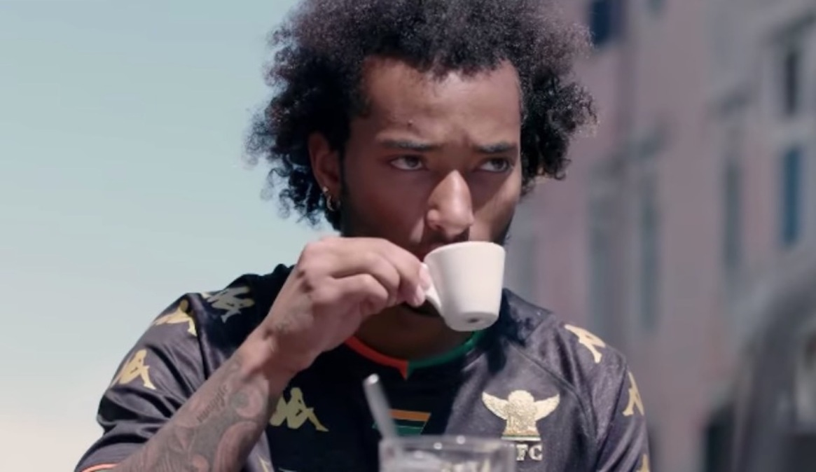Busio sips on an espresso after joining Venezia.