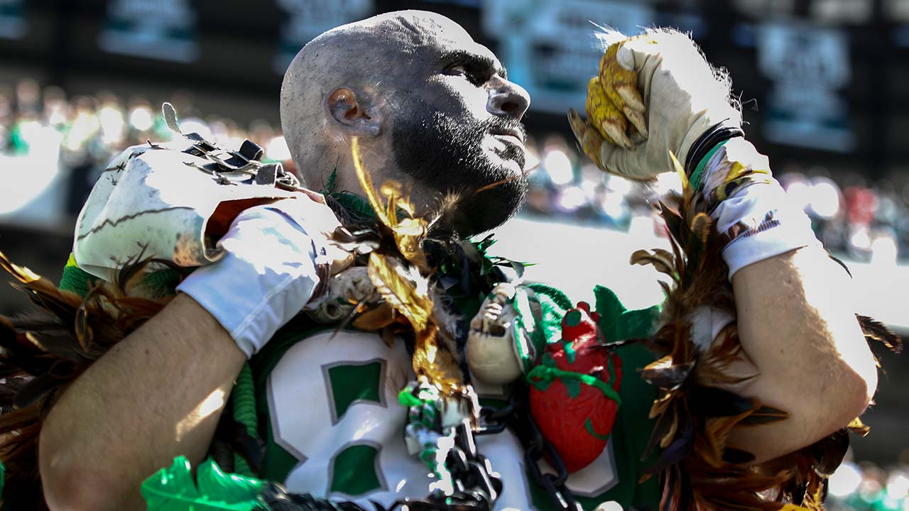An Eagles fan in an elaborate costume