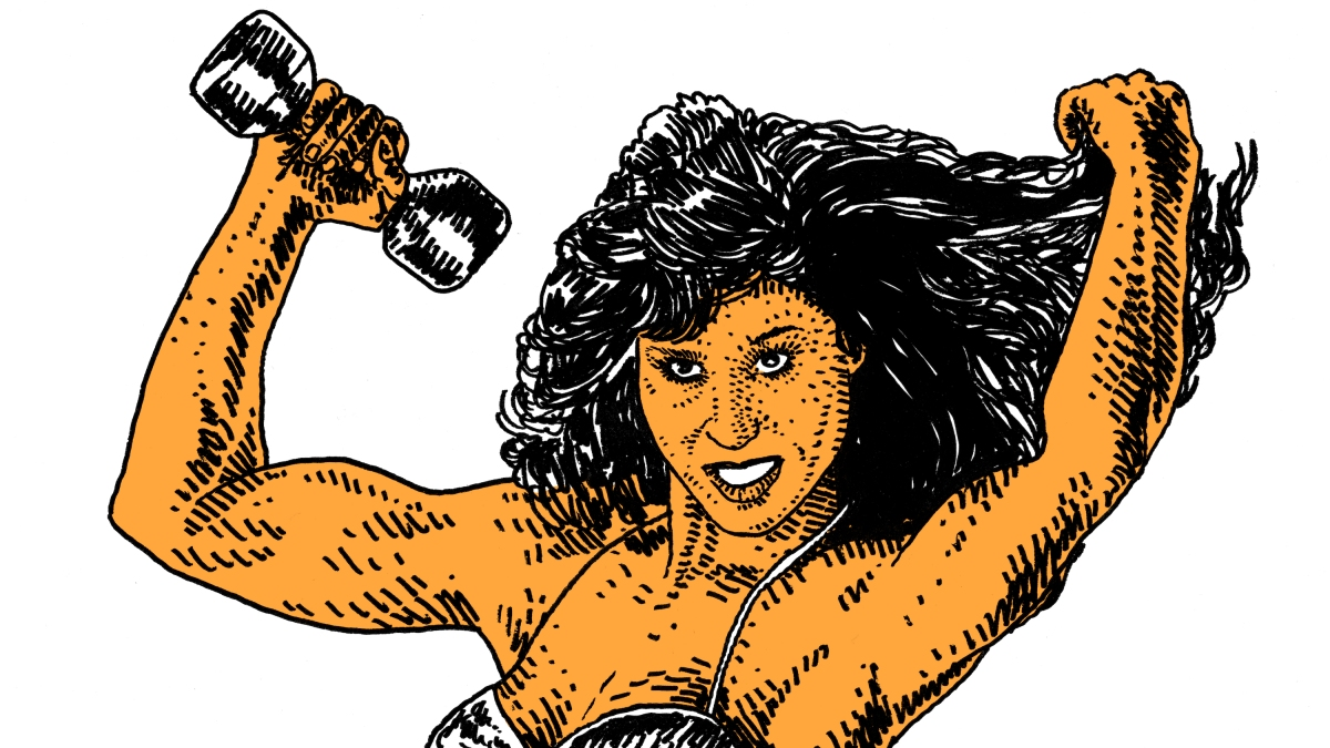 Bodybuilder Rachel McLish, as drawn by Adam Villacin.