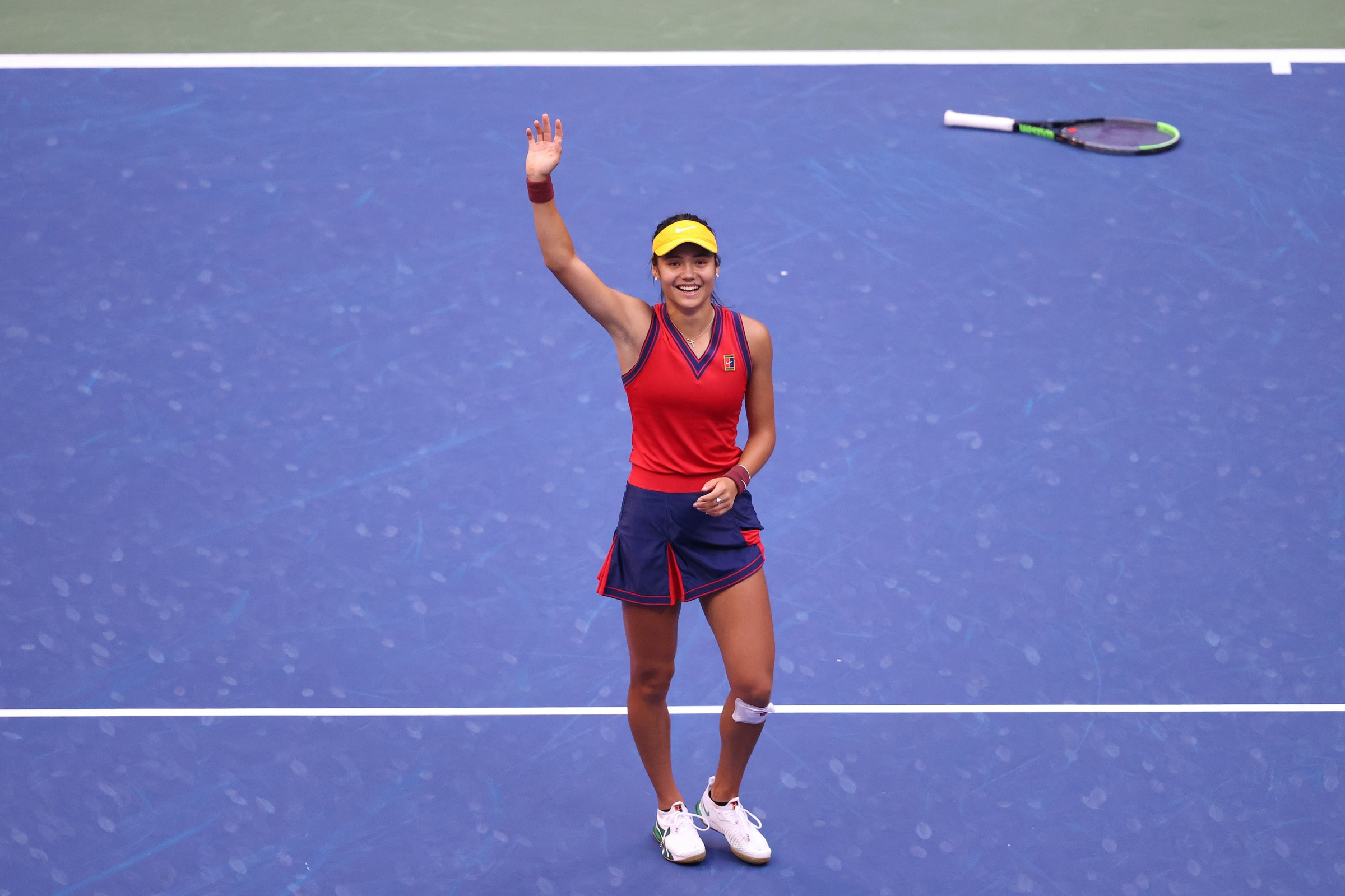 Emma Raducanu of Great Britain celebrates after winning championship point to defeat Leylah Annie Fernandez of Canada during the second set of their Women's Singles final match on Day Thirteen of the 2021 US Open at the USTA Billie Jean King National Tennis Center on September 11, 2021 in the Flushing neighborhood of the Queens borough of New York City.
