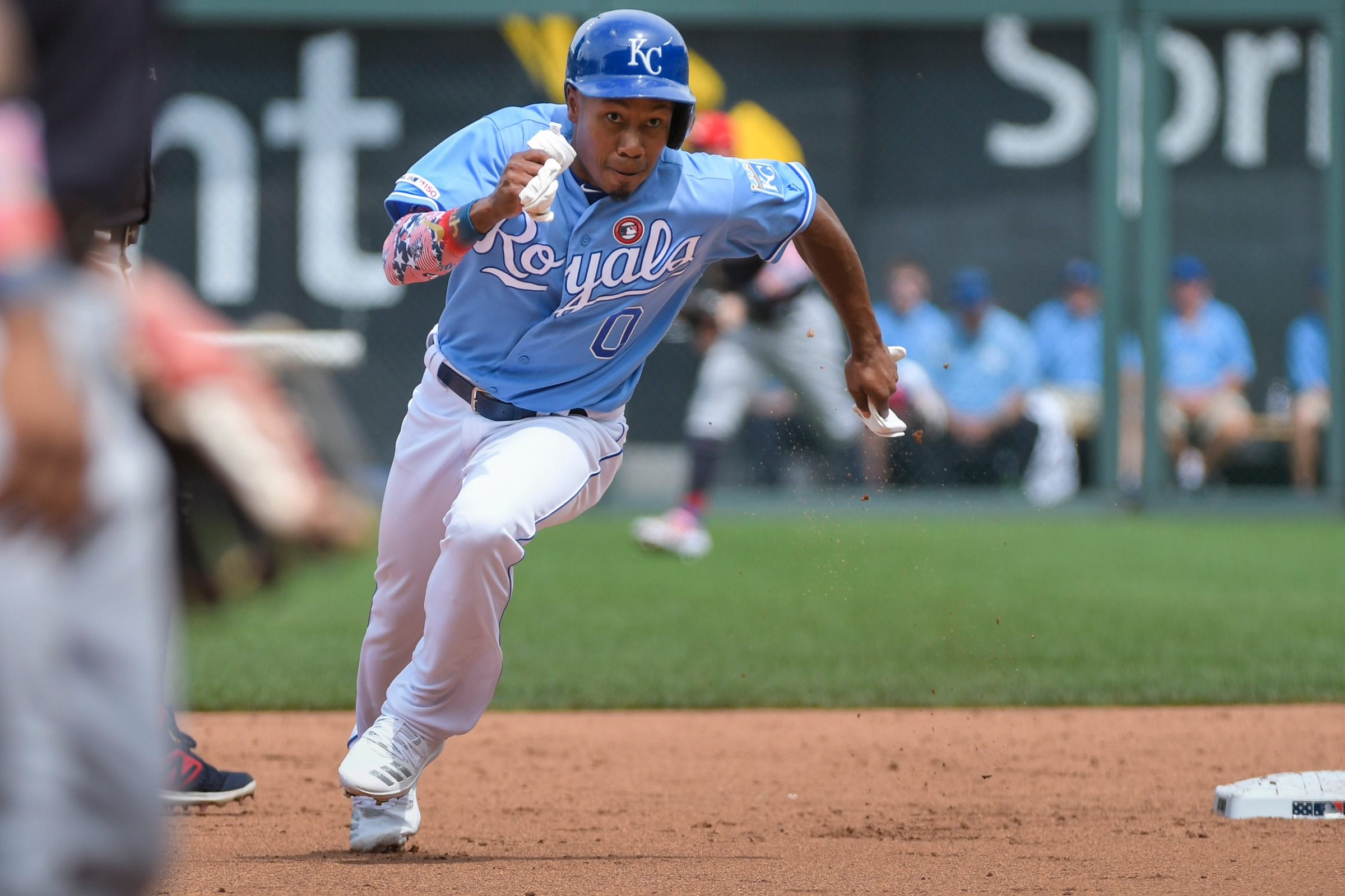 Terrance Gore taking an extra base, with a great deal of vigor, in a 2019 Royals game.