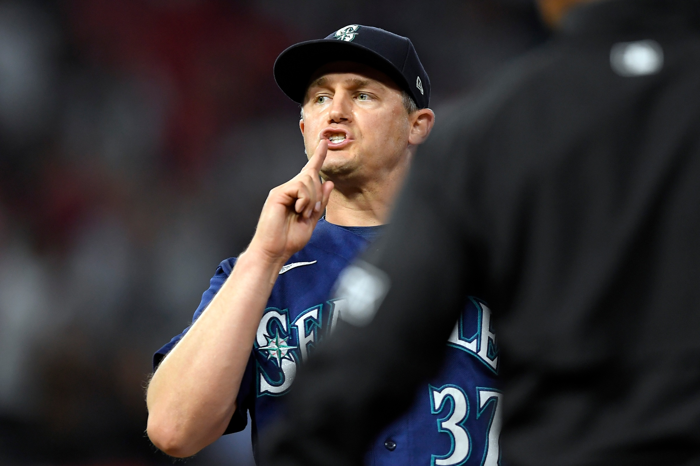 Seattle Mariners reliever Paul Sewald hushes the crowd in Anaheim down the stretch of his team's failed 2021 playoff run.