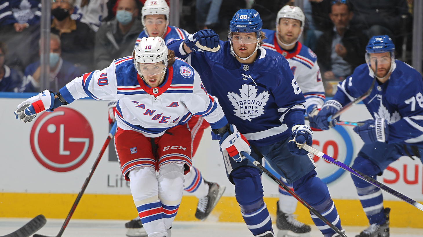 TORONTO, ON - OCTOBER 18: Artemi Panarin #10 of the New York Rangers skates against William Nylander #88 of the Toronto Maple Leafs during an NHL game at Scotiabank Arena on October 18, 2021 in Toronto, Ontario, Canada. (Photo by Claus Andersen/Getty Images) *** Local Caption *** Artemi Panarin; William Nylander