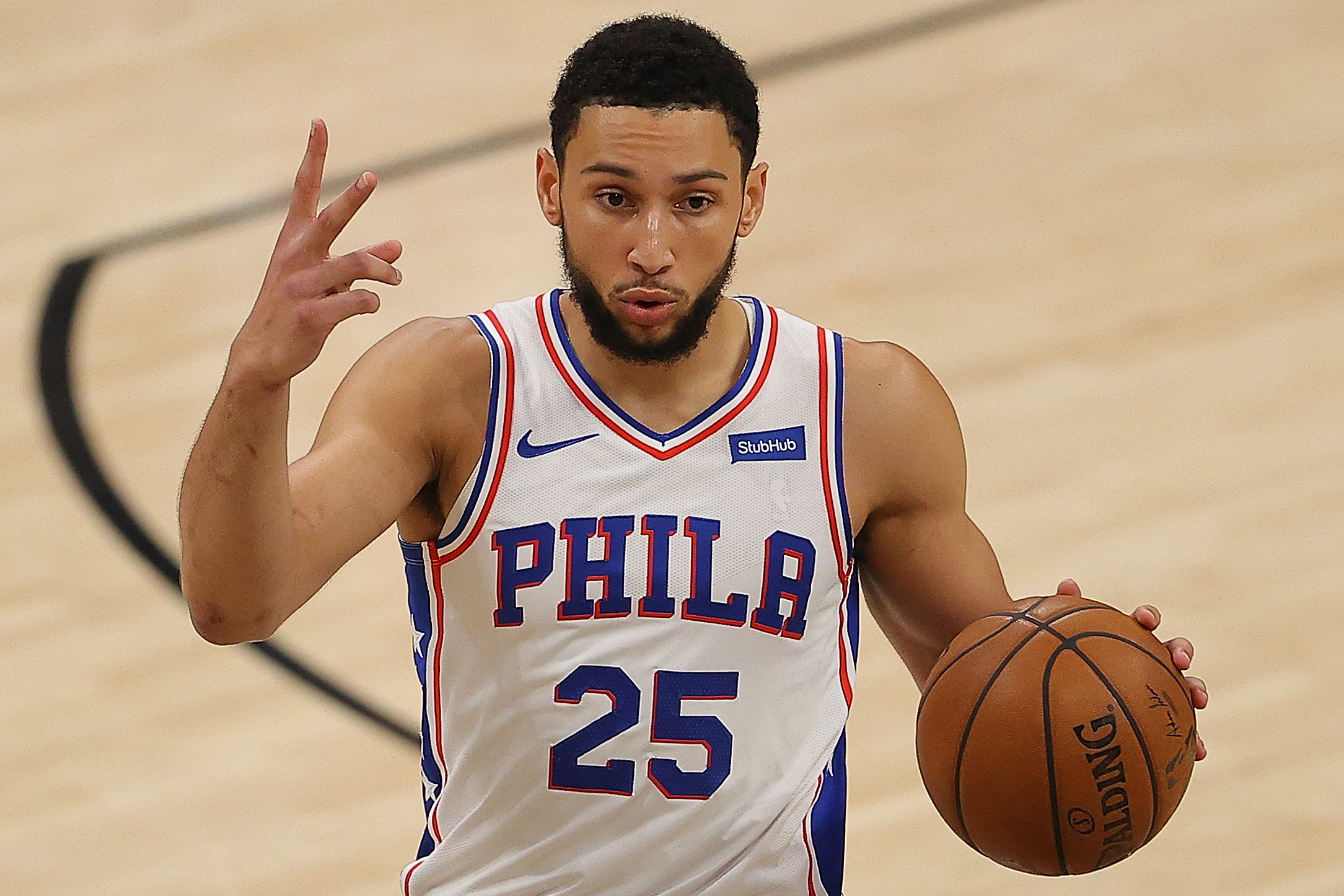 Ben Simmons #25 of the Philadelphia 76ers calls out a play against the Atlanta Hawks during the first half of game 6 of the Eastern Conference Semifinals.
