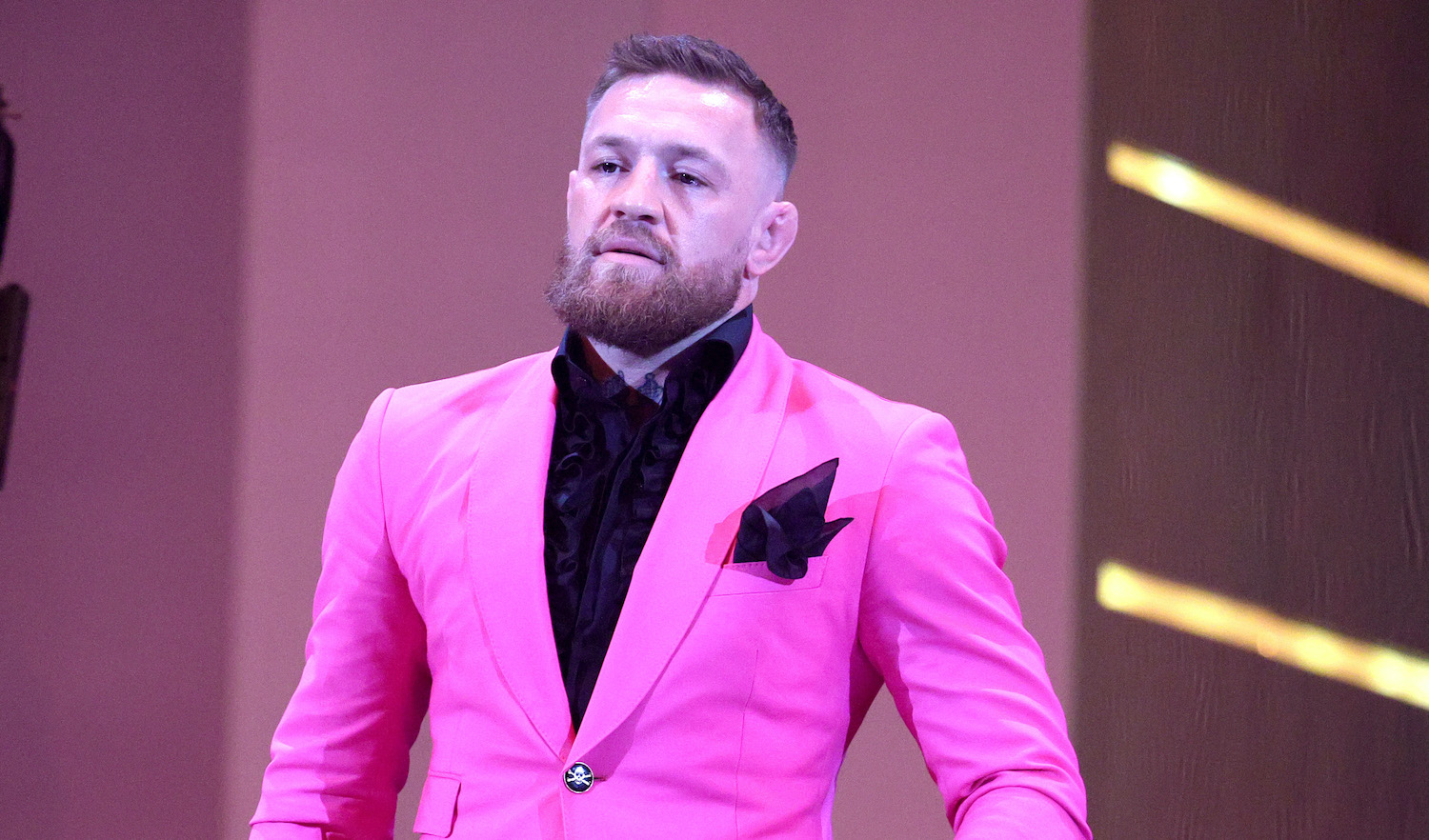 NEW YORK, NEW YORK - SEPTEMBER 12: Conor McGregor speaks onstage during the 2021 MTV Video Music Awards at Barclays Center on September 12, 2021 in the Brooklyn borough of New York City. (Photo by Theo Wargo/Getty Images for MTV/ViacomCBS)
