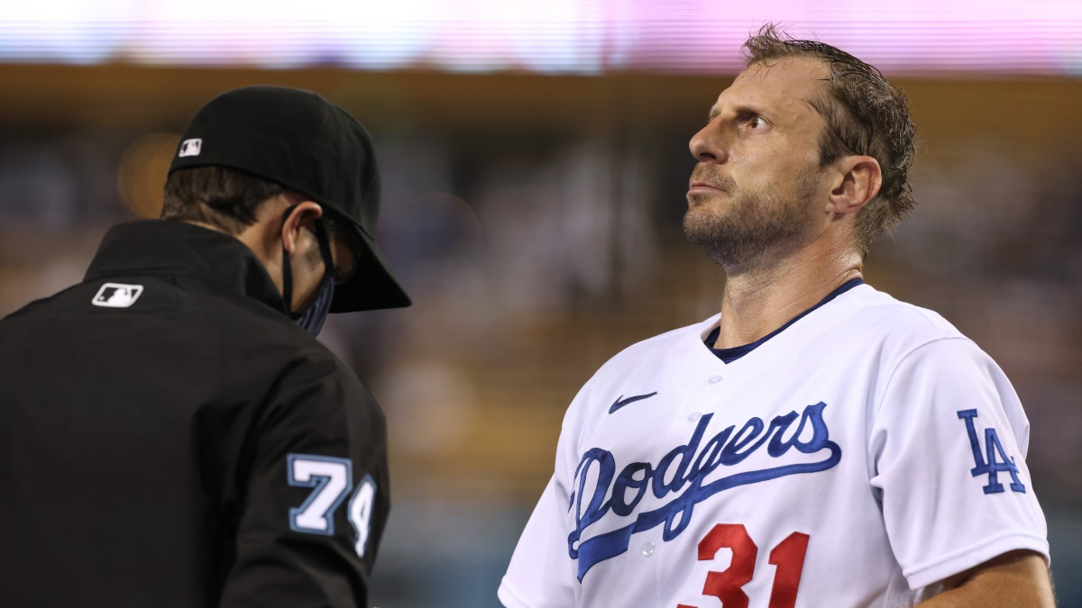Max Scherzer is very patiently inspected for sticky stuff contamination during a September Dodgers game.