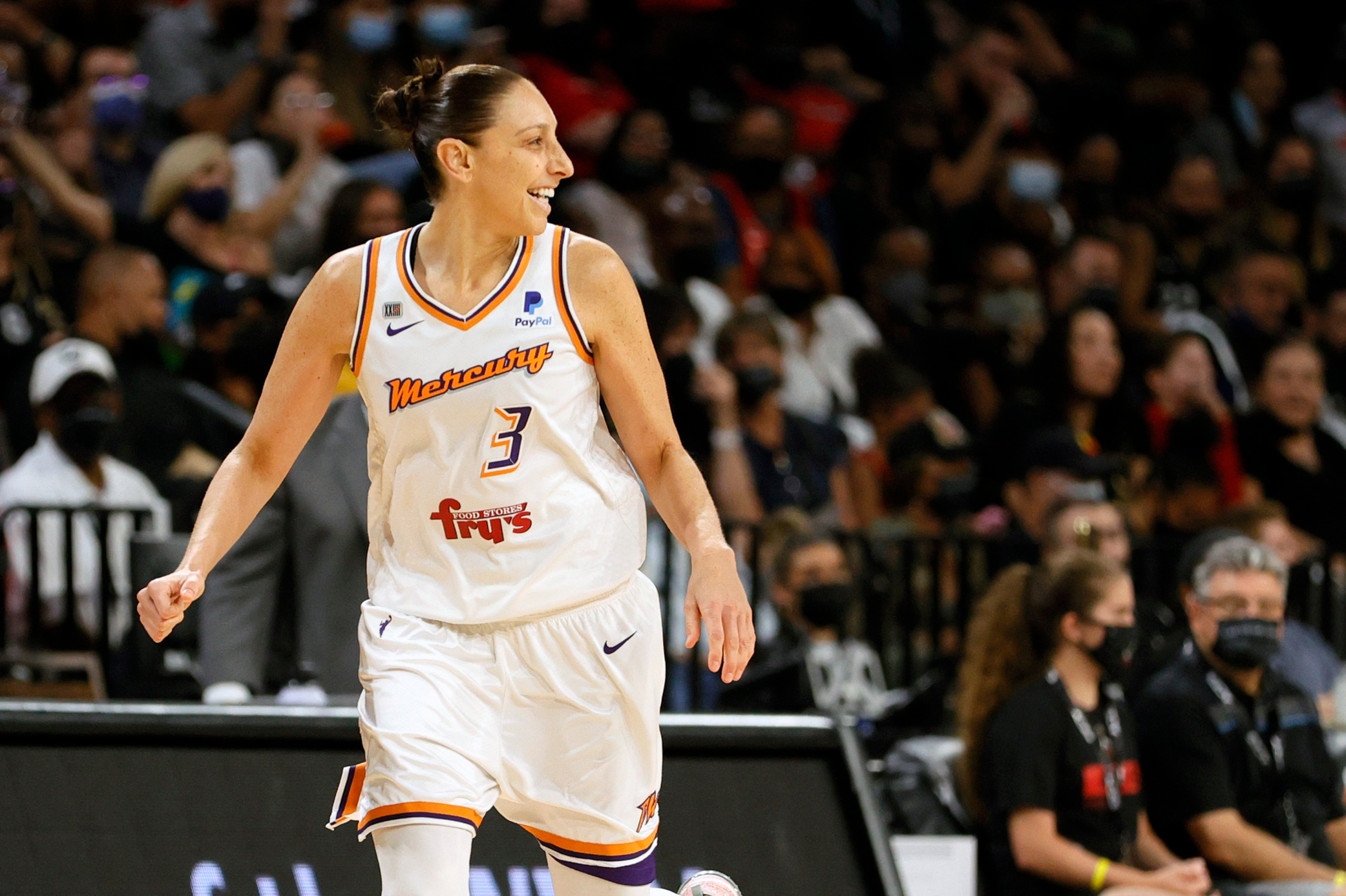 Diana Taurasi #3 of the Phoenix Mercury reacts after hitting a 3-pointer against the Las Vegas Aces during Game Two of the 2021 WNBA Playoffs semifinals at Michelob ULTRA Arena on September 30, 2021 in Las Vegas, Nevada. The Mercury defeated the Aces 117-91.
