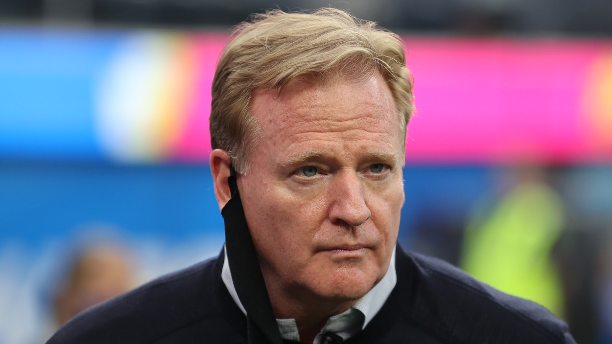 INGLEWOOD, CALIFORNIA - OCTOBER 04: NFL commissioner Roger Goodell looks on before the Las Vegas Raiders play against the Los Angeles Chargers at SoFi Stadium on October 4, 2021 in Inglewood, California. (Photo by Sean M. Haffey/Getty Images)
