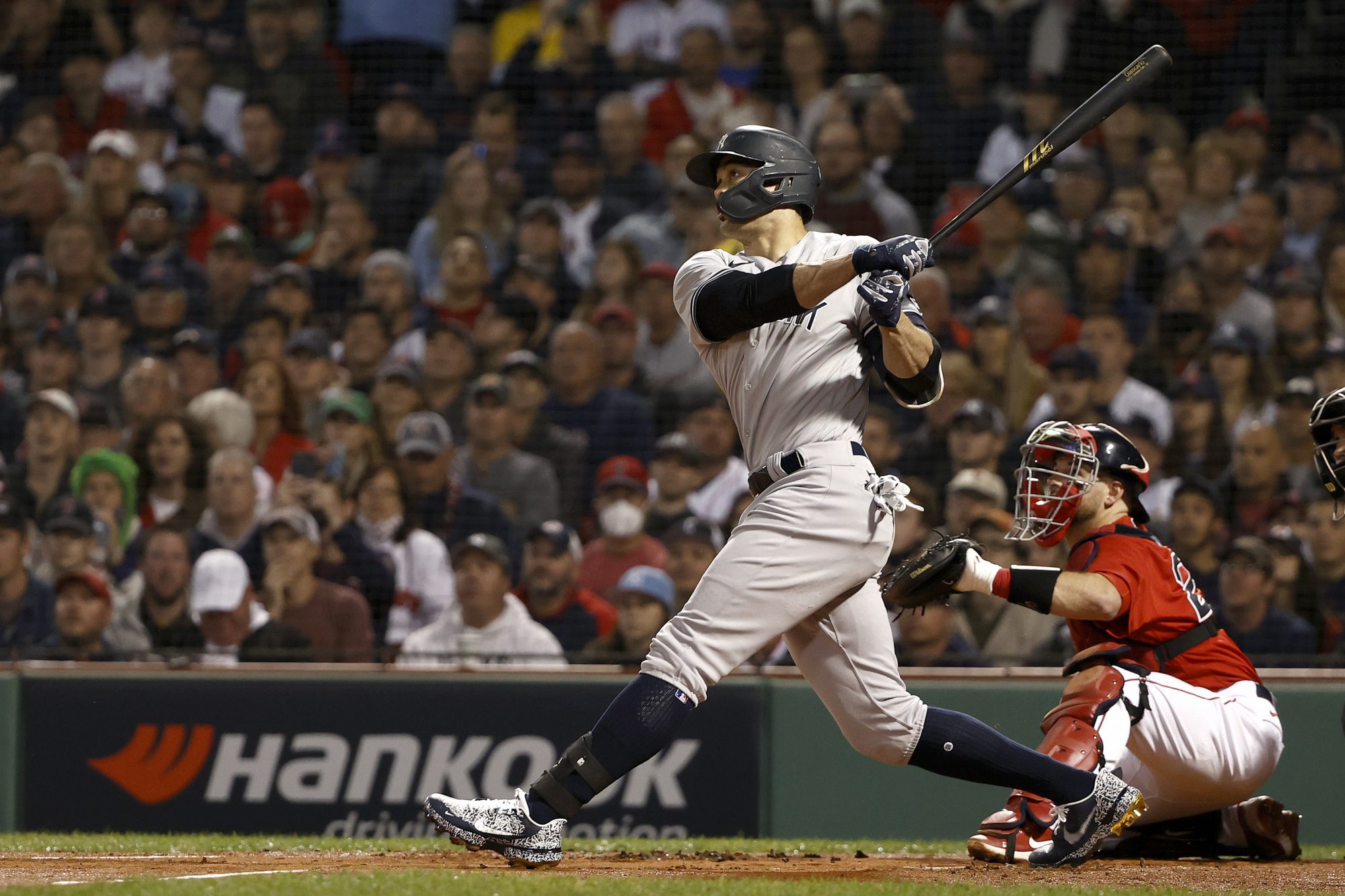 Giancarlo Stanton of the New York Yankees socks a mega dinger off the wall in left, for a single.