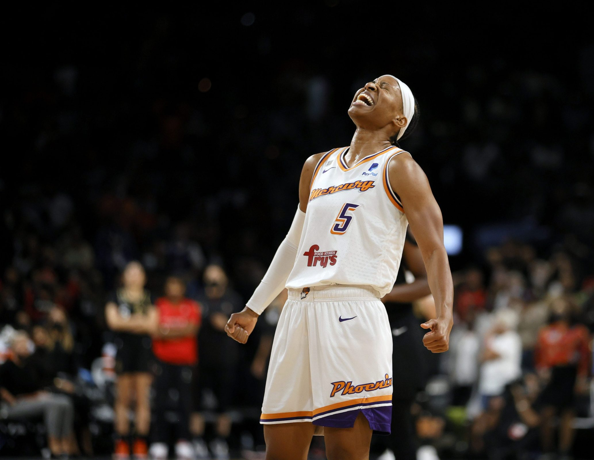 Shey Peddy #5 of the Phoenix Mercury celebrates as time expires in Game Five of the 2021 WNBA Playoffs semifinals against the Las Vegas Aces at Michelob ULTRA Arena on October 8, 2021 in Las Vegas, Nevada. The Mercury defeated the Aces 87-84 to win the series.