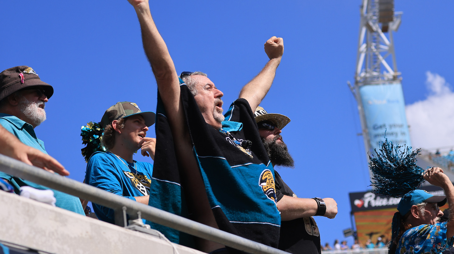 JACKSONVILLE, FLORIDA - OCTOBER 10: Jacksonville Jaguars fans react during the second quarter against the Tennessee Titans at TIAA Bank Field on October 10, 2021 in Jacksonville, Florida. (Photo by Sam Greenwood/Getty Images)