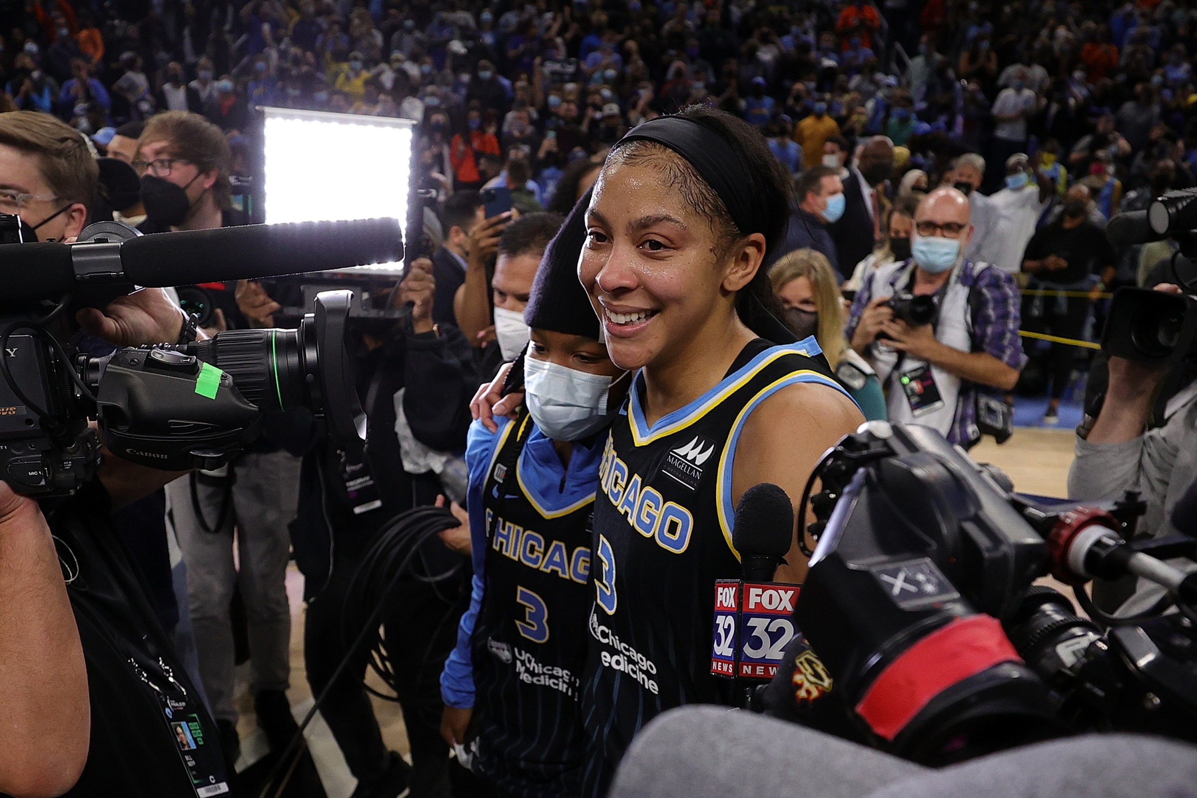 Candace Parker #3 of the Chicago Sky celebrates after defeating the Phoenix Mercury 80-74 in Game Four of the WNBA Finals to win the championship at Wintrust Arena on October 17, 2021 in Chicago, Illinois.