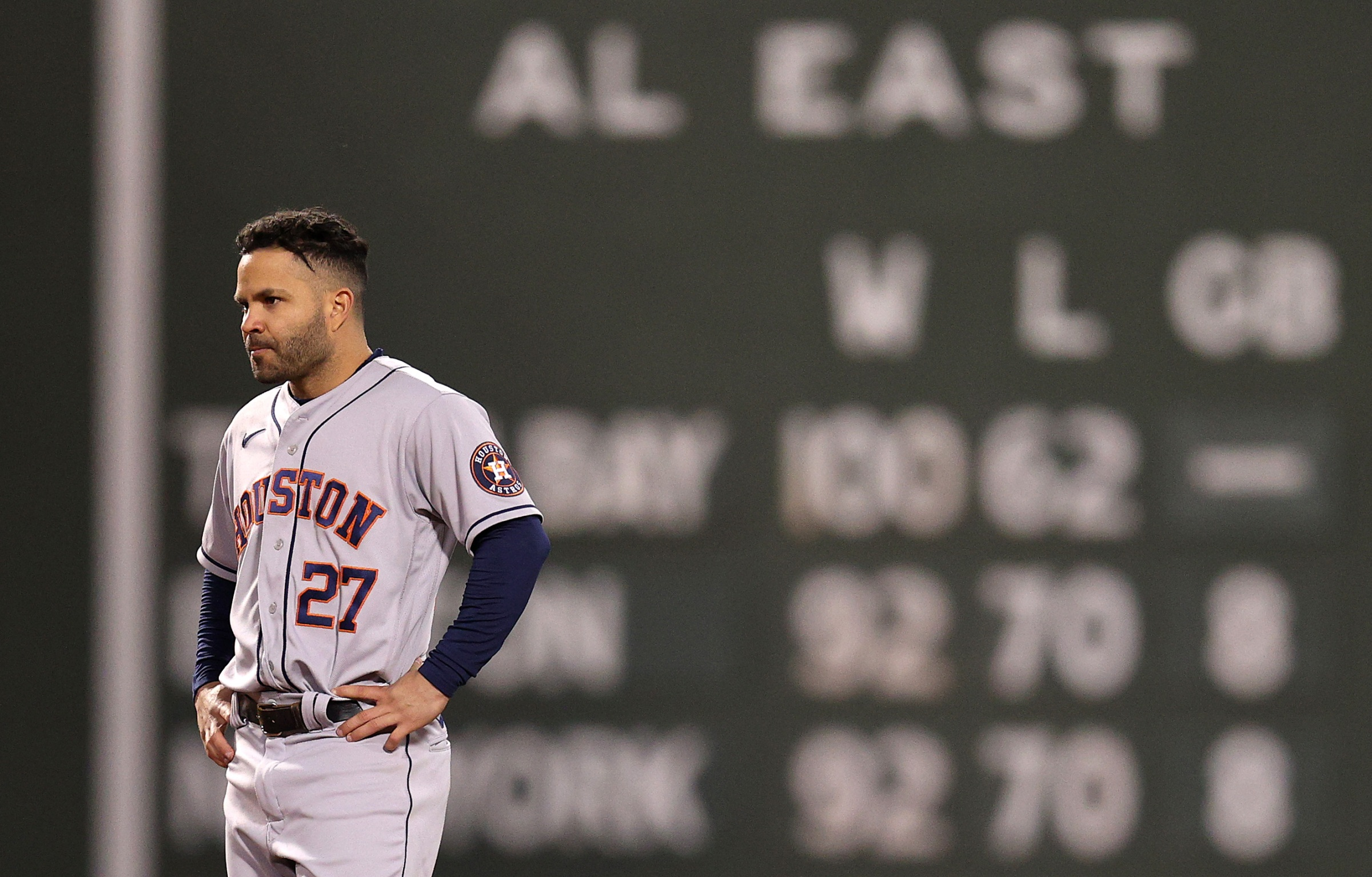 Jose Altuve stands without his hat in the field, looking unhappy