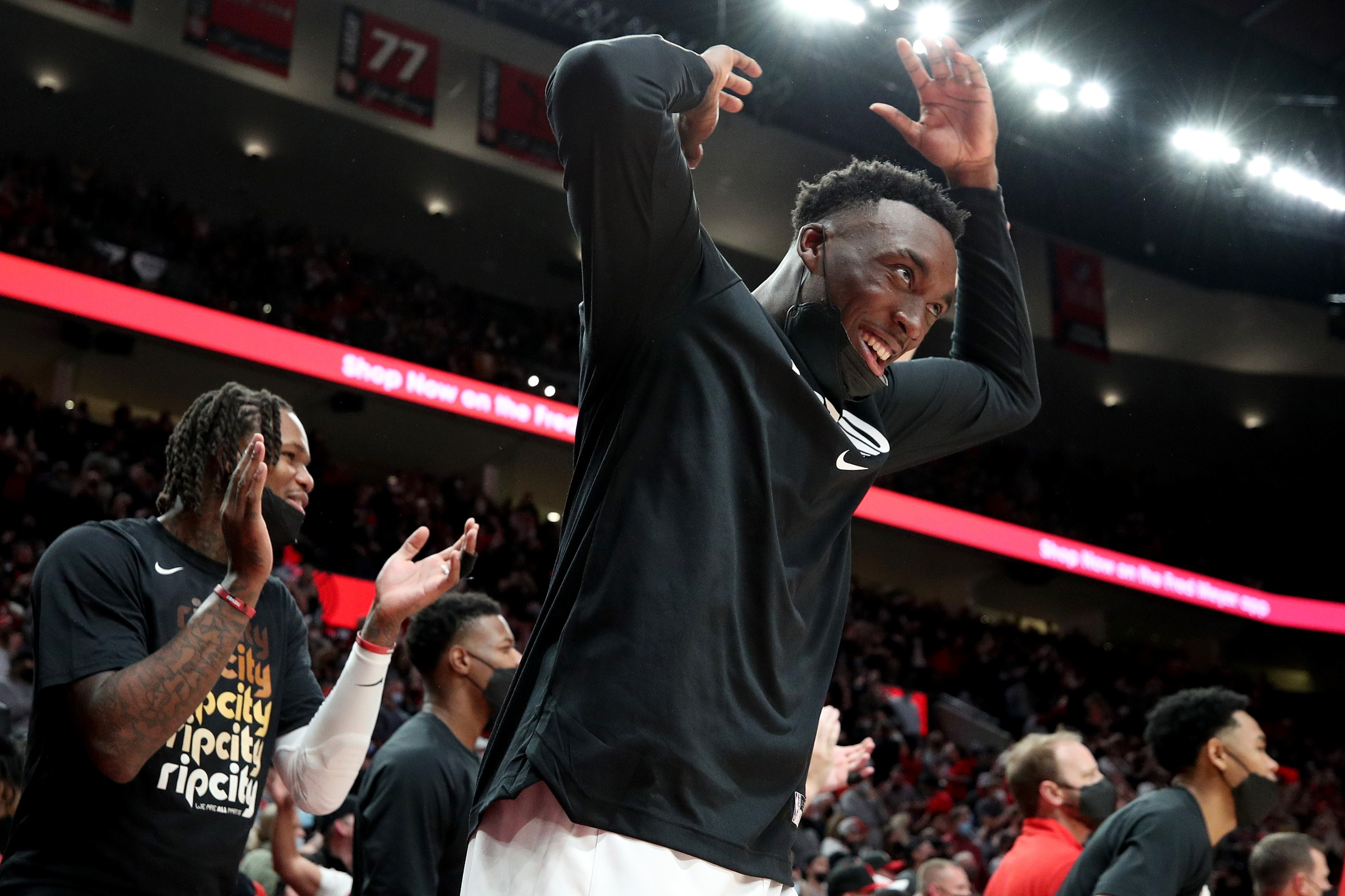 PORTLAND, OREGON - OCTOBER 20: Nassir Little #9 of the Portland Trail Blazers reacts during the fourth quarter against the Sacramento Kings at Moda Center on October 20, 2021 in Portland, Oregon. NOTE TO USER: User expressly acknowledges and agrees that, by downloading and or using this photograph, User is consenting to the terms and conditions of the Getty Images License Agreement. (Photo by Steph Chambers/Getty Images)