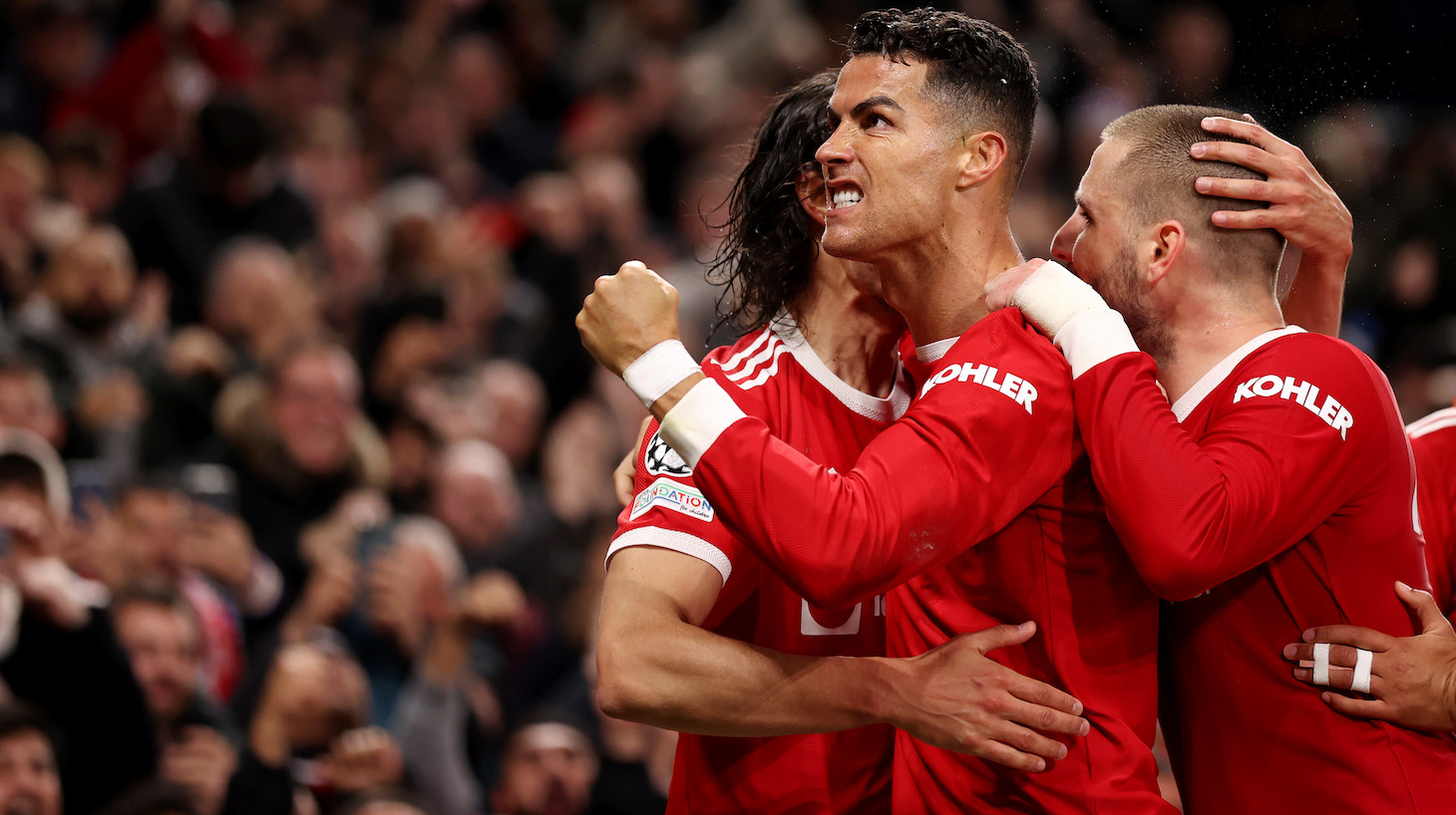 Cristiano Ronaldo of Manchester United celebrates after scoring their side's third goal during the UEFA Champions League group F match between Manchester United and Atalanta at Old Trafford on October 20, 2021 in Manchester, England.