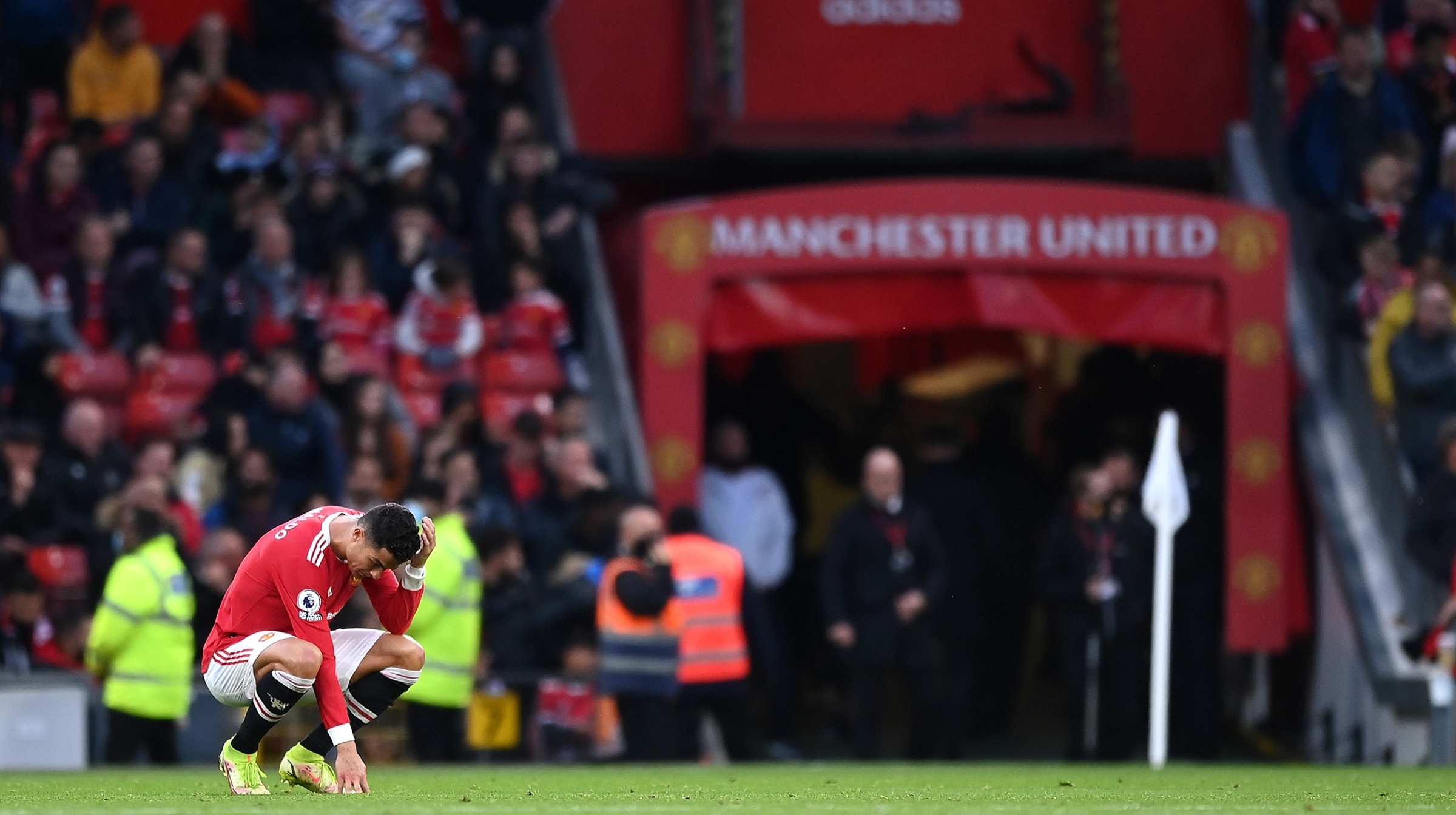 Cristiano Ronaldo of Manchester United looks dejected during the Premier League match between Manchester United and Liverpool at Old Trafford on October 24, 2021 in Manchester, England.