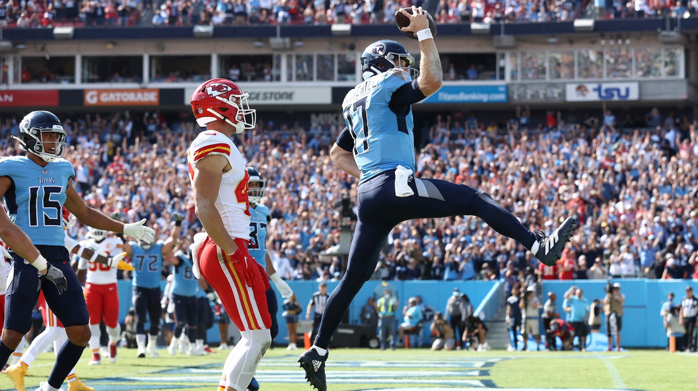 Ryan Tannehill #17 of the Tennessee Titans celebrates after scoring a touchdown in the second quarter against the Kansas City Chiefs in the game at Nissan Stadium on October 24, 2021 in Nashville, Tennessee.