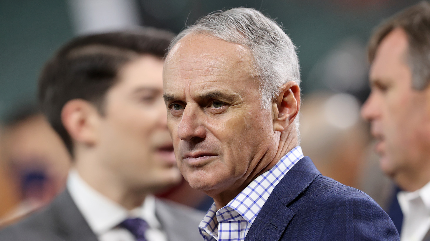 HOUSTON, TEXAS - OCTOBER 26: Major League Baseball Commissioner Rob Manfred looks on prior to Game One of the World Series between the Atlanta Braves and the Houston Astros at Minute Maid Park on October 26, 2021 in Houston, Texas. (Photo by Bob Levey/Getty Images)