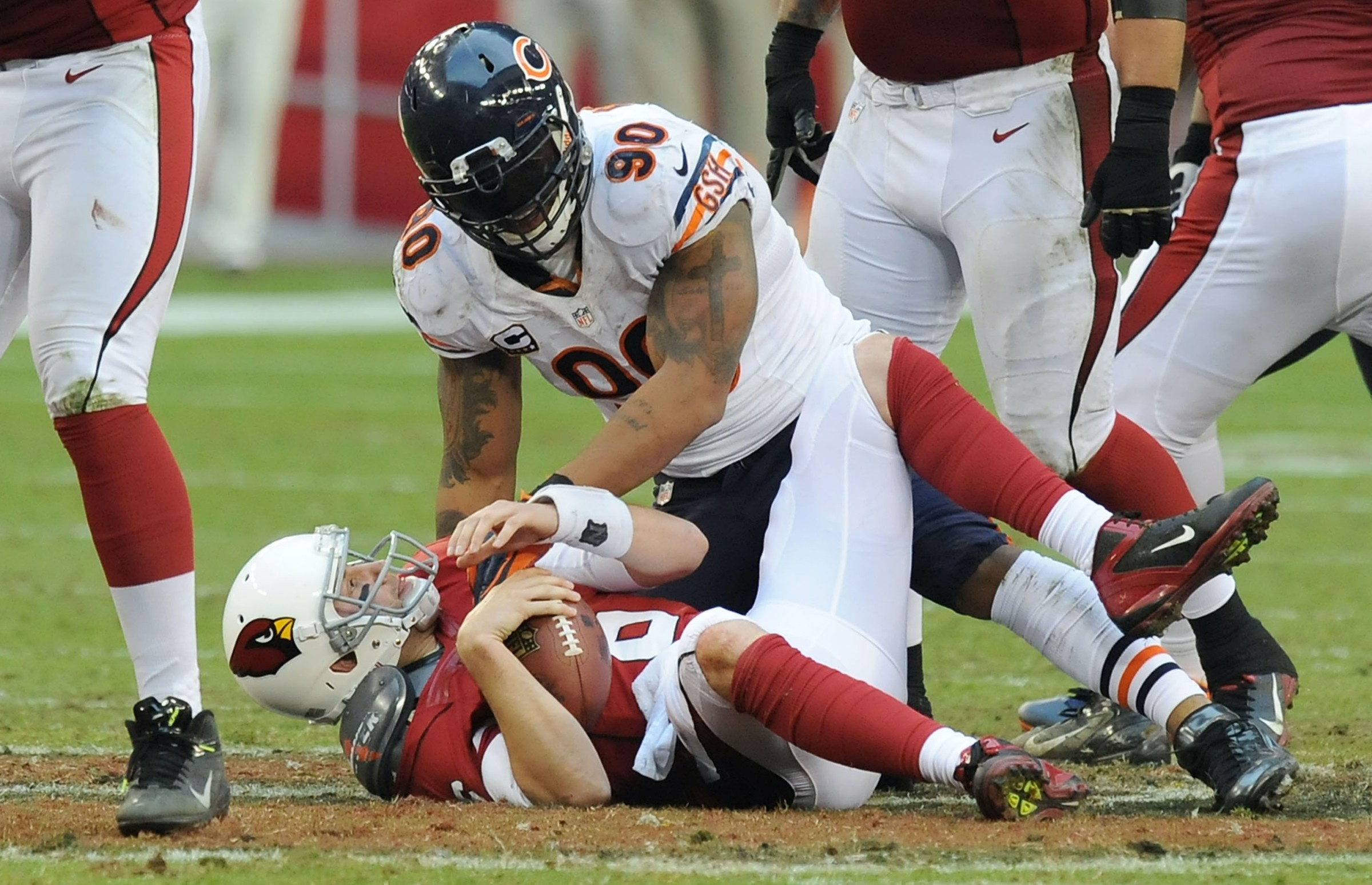 Brian Hoyer gets sacked by Julius Peppers.