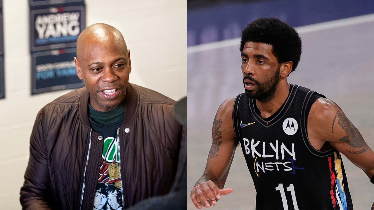 Side-by-side images of Dave Chappelle and Kyrie Irving.