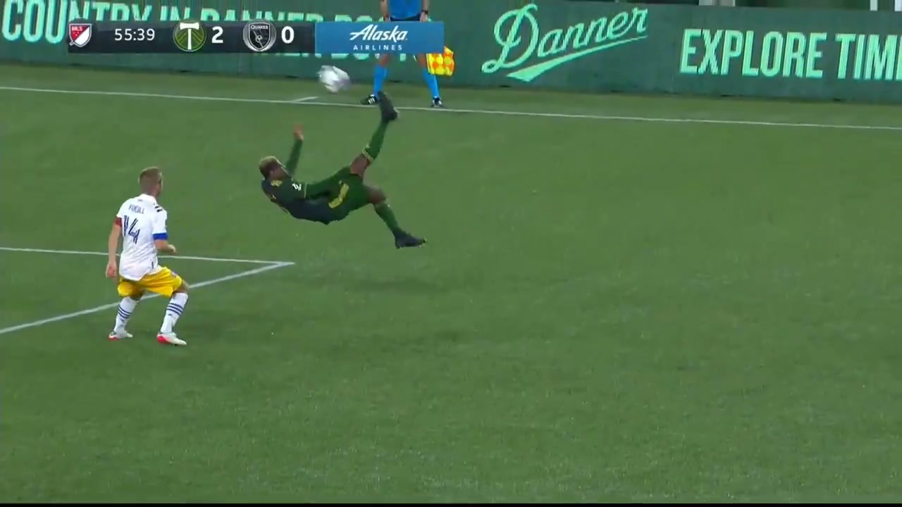 A Portland Timbers player hits a bicycle/overhead kick near the 18-yard box